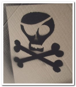 Stencil results: Pirate skull graffiti